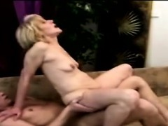 Skinny 70yo woman squeals while riding a college studs dong