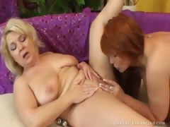 Blond Granny Claudie Fucks Karen with Dildo