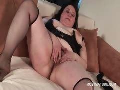 Pussy masturbation video with brunette horny mature
