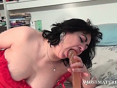 Pussy dildo fucking with dirty mature