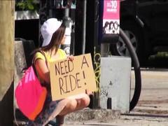 Hitchhiker teen London Smith enjoys her first public sex