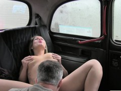 Sexy British blonde bangs in fake taxi in public