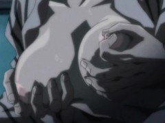 Japanese hentai with muzzle gets squeezed tits and fingered