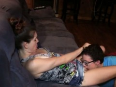 Nerdy lucky dude with glasses fucking stunning girlfriend