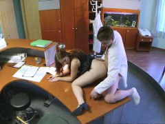 Busty redhead babe getting fucked by her doctor